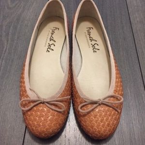 French Sole Henrietta Woven Leather Ballet Flat